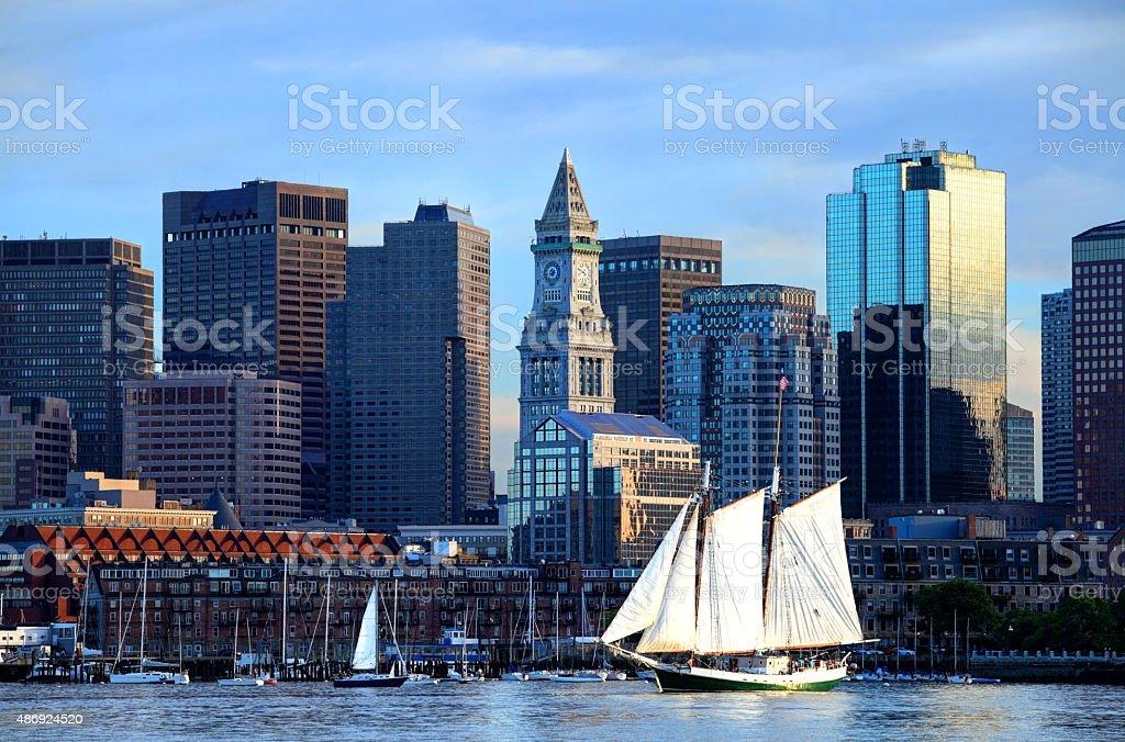 Schooner along the Boston Harbor Skyline stock photo