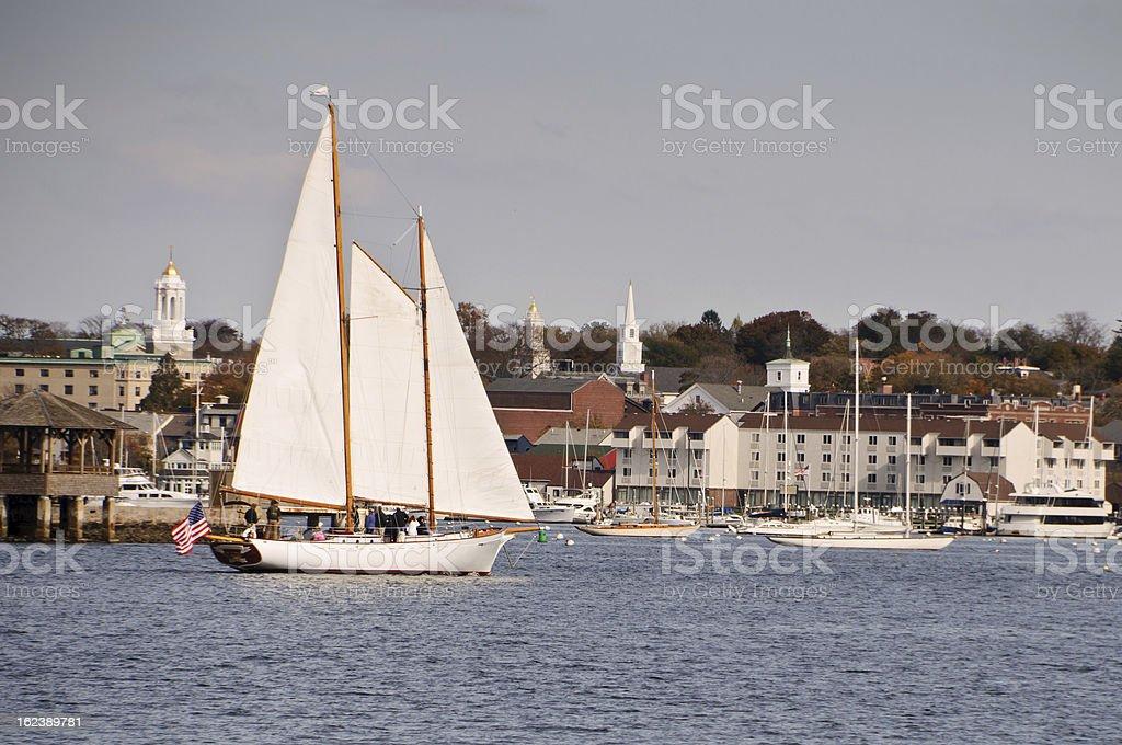 Schooner in Newport Harbor stock photo