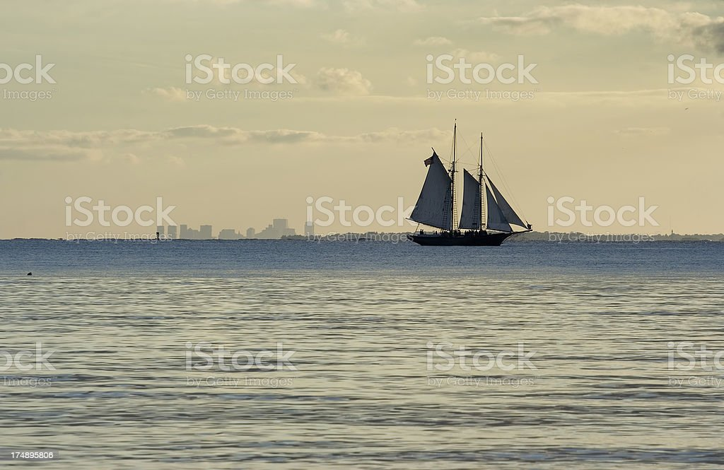 Schooner sailin in Boston north shore royalty-free stock photo
