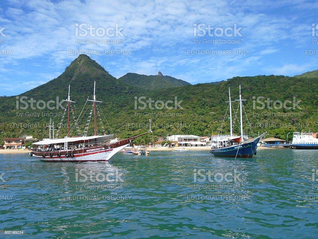 Schooners in Ilha Grande, Rio de Janeiro stock photo