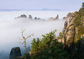 Schrammsteine in the fog, Saxon Switzerland, Germany