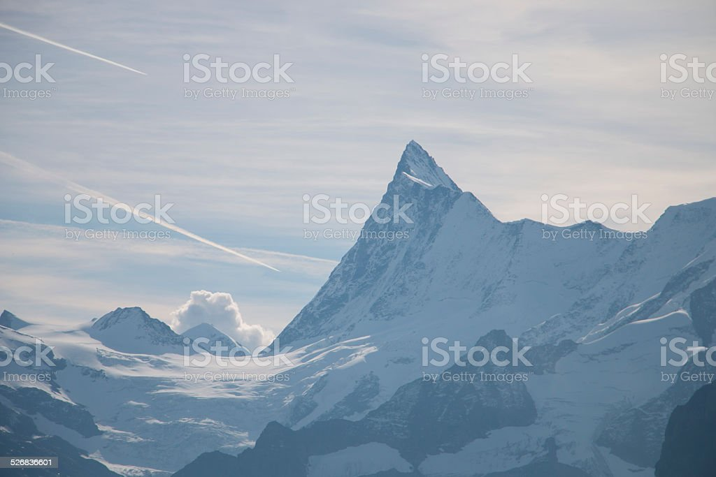 Schreckhorn mountain and surrounding glaciers stock photo