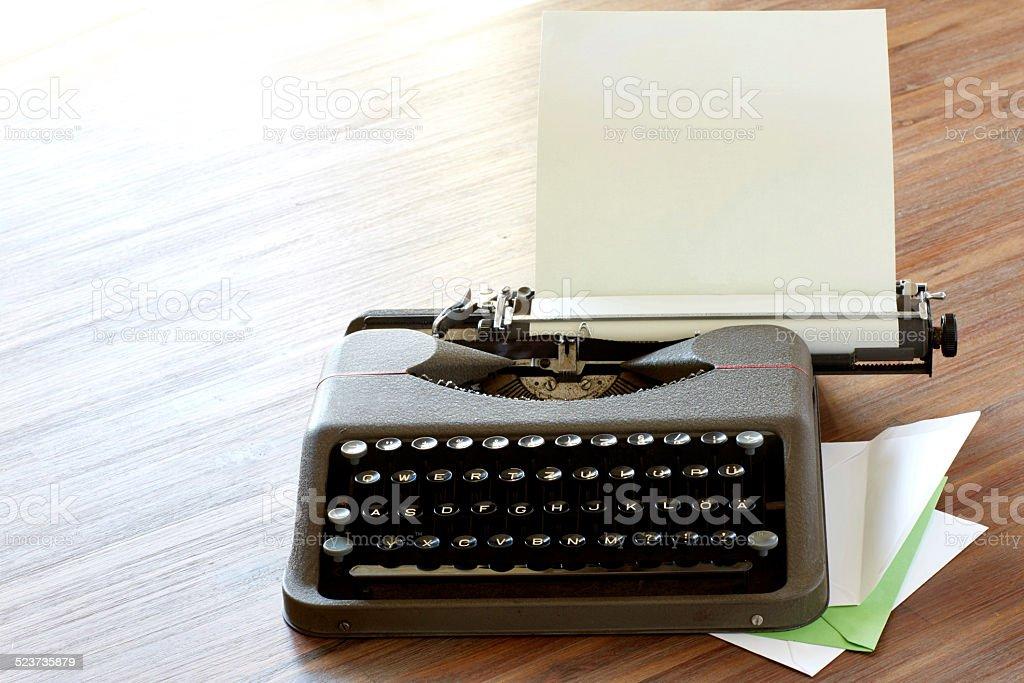 Schreibmasschine High Key corner stock photo