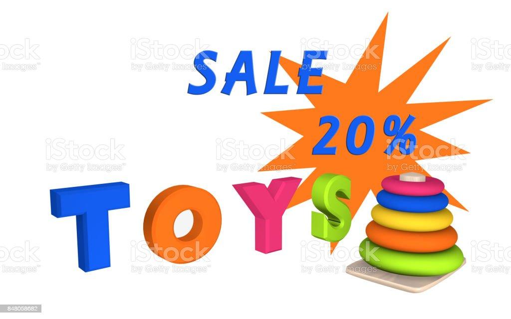 Schriftzug Toys mit Lernspielzeug für Kleinkinder und dem Text Sale 20%. stock photo