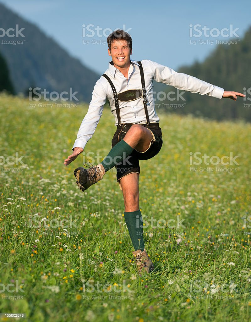 Schuhplattler, Handsome Man wearing Lederhosen (XXXL) stock photo