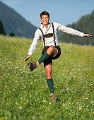 Schuhplattler, Handsome Man wearing Lederhosen (XXXL)