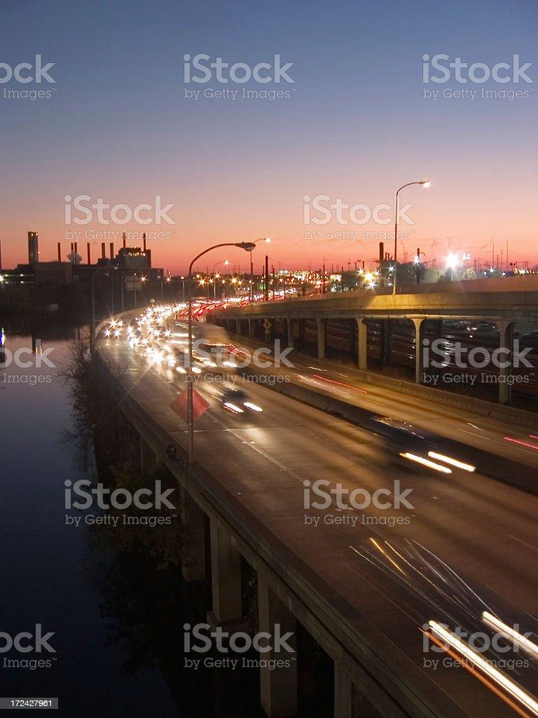 Schuylkill expressway at twilight royalty-free stock photo