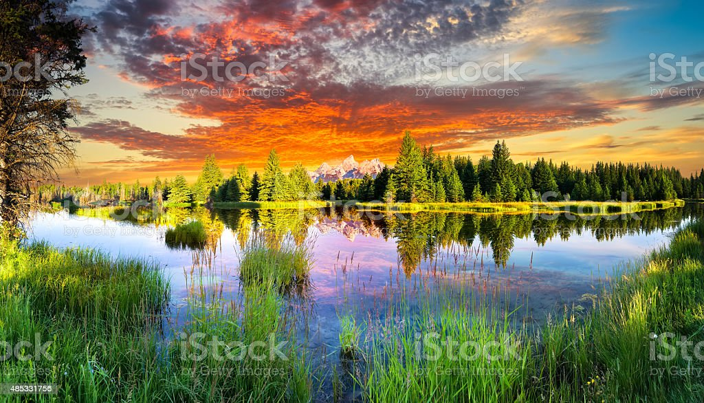 Schwabacher Landing at Dawn stock photo
