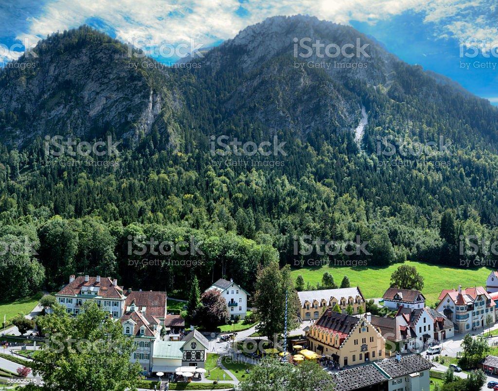 Schwangau In Bavaria, Germany Under The Alps stock photo