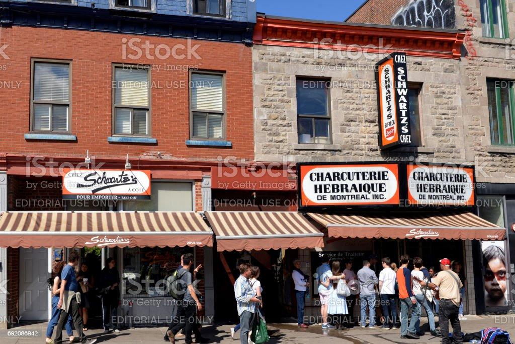 Schwartz's Deli in Montreal stock photo
