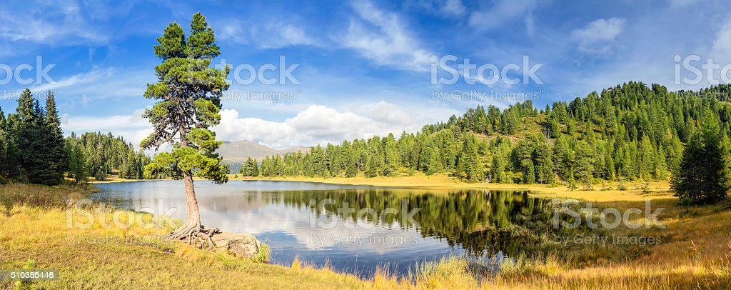 Schwarzsee beautiful alpin lake in Austrian Alps stock photo