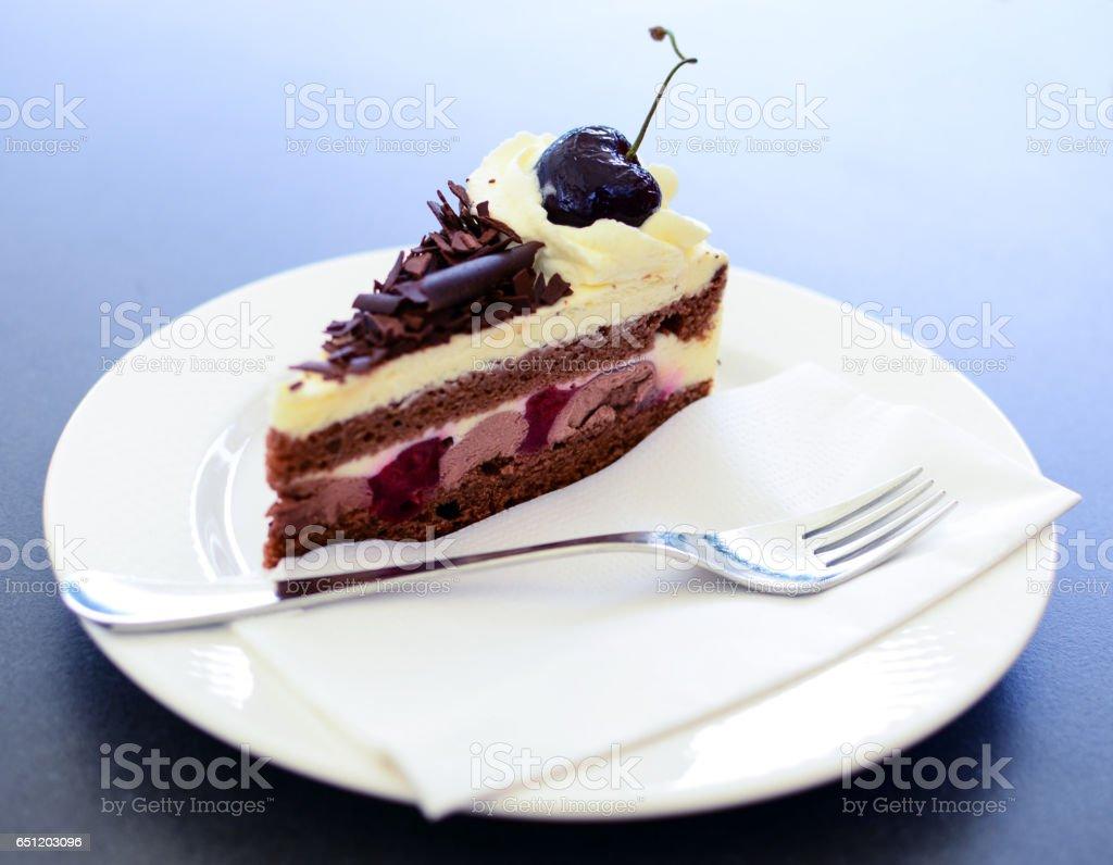 Schwarzwald cake closeup stock photo