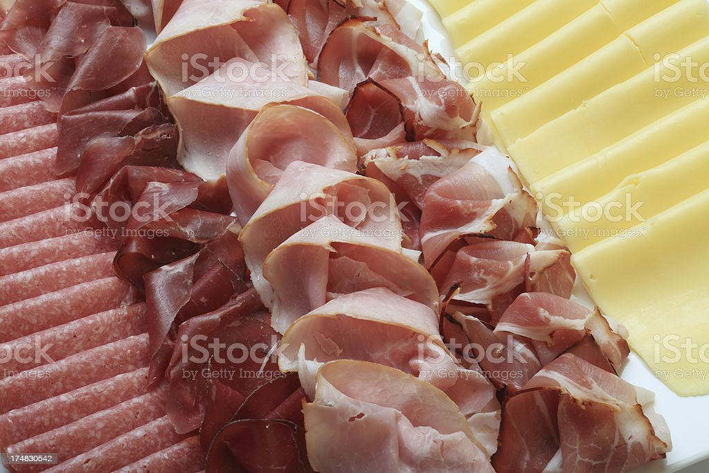 schwarzwälder ham salami and cheese royalty-free stock photo