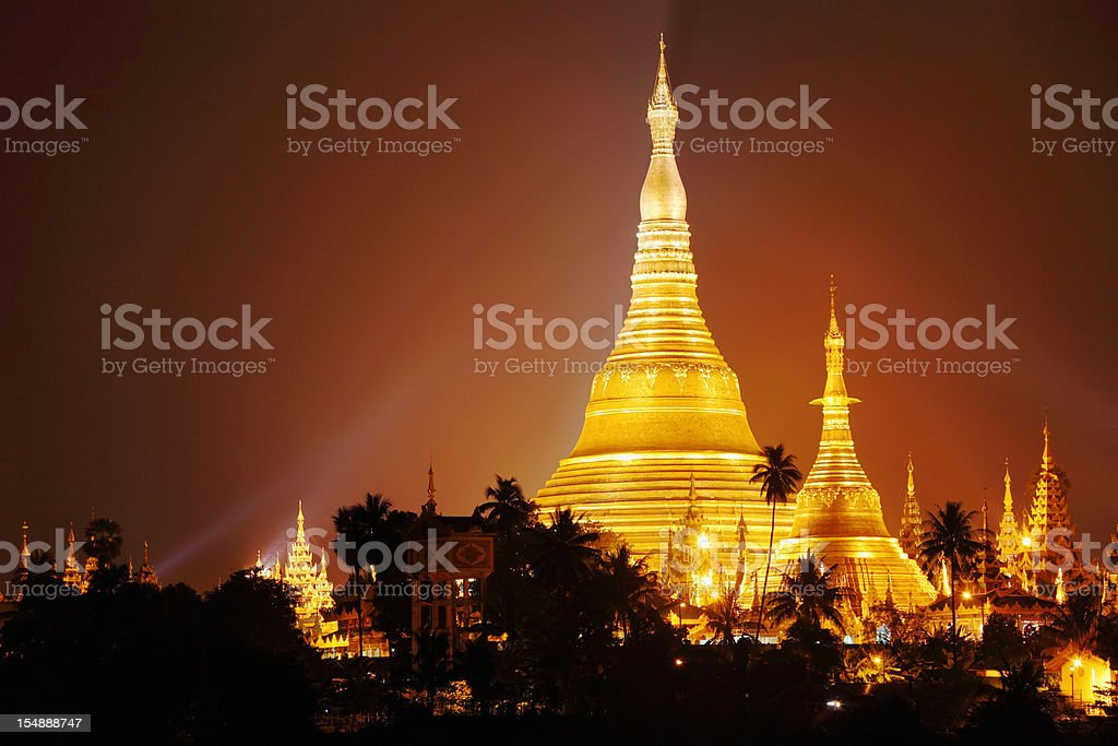 Schwedagon Pagoda at night royalty-free stock photo