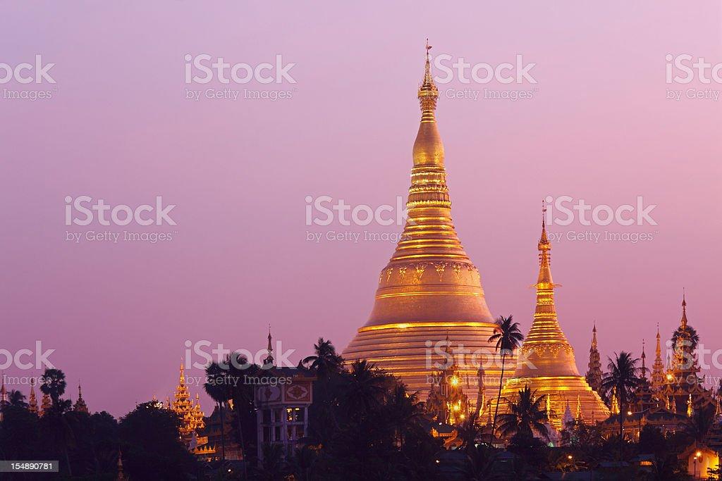 Schwedagon Pagoda at sunrise royalty-free stock photo