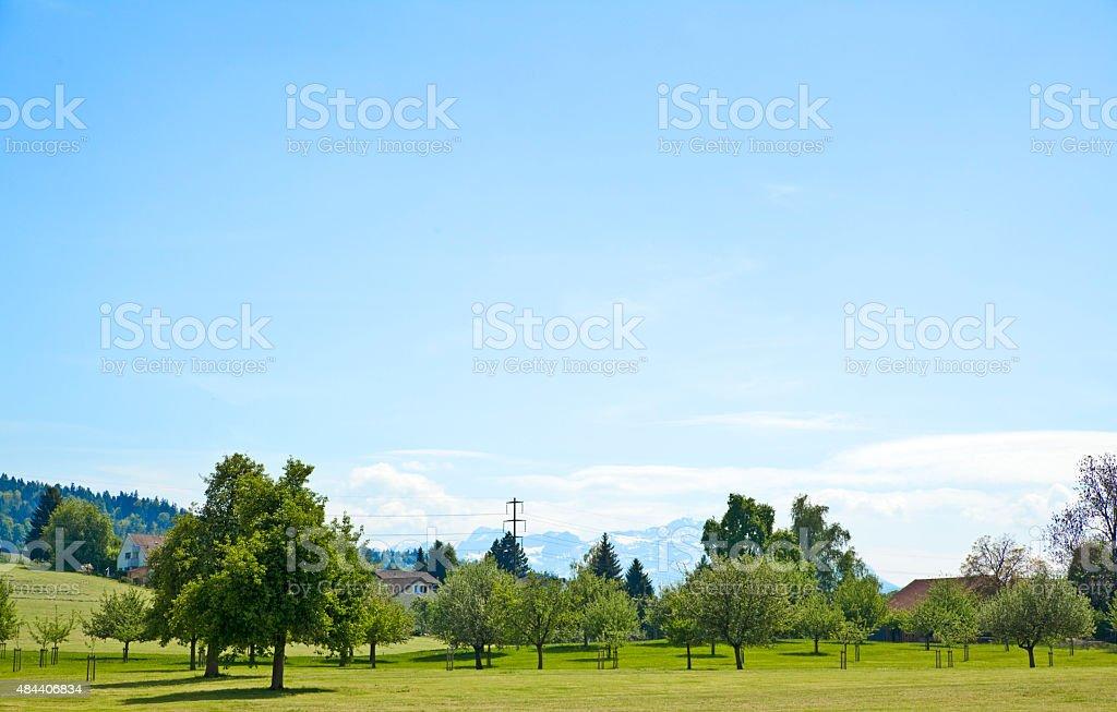 schweizer Landschaft mit Alpen stock photo