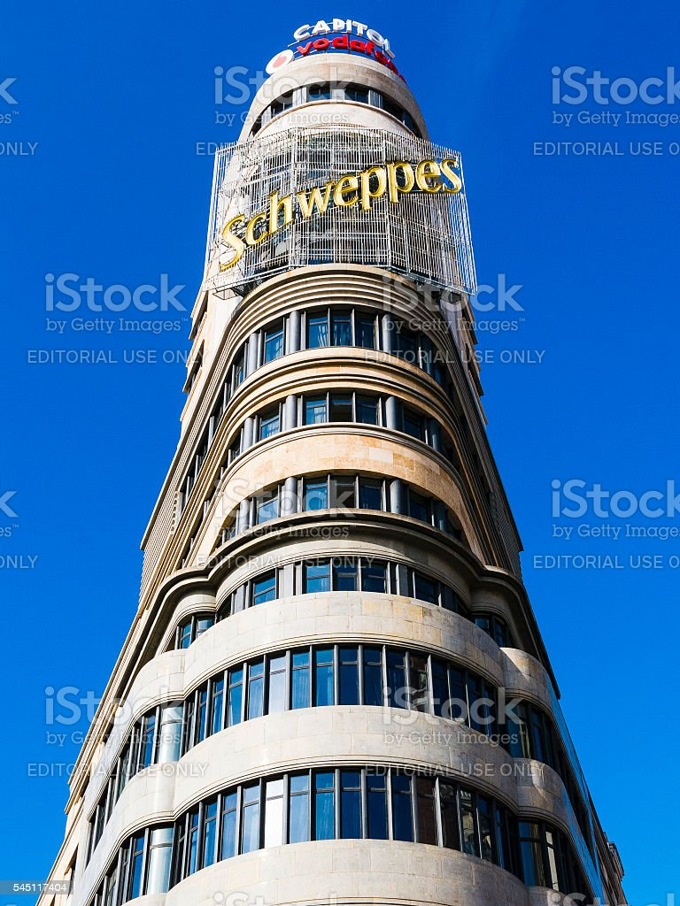 Schweppes Tower in Gran Via, Madrid, Spain stock photo