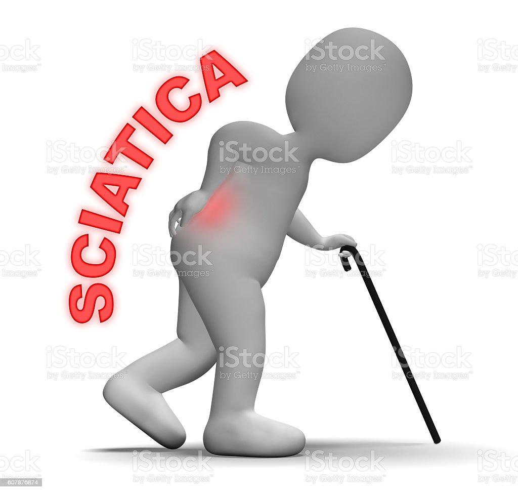 Sciatica Pain Indicates Vertebral Column And Back 3d Rendering stock photo