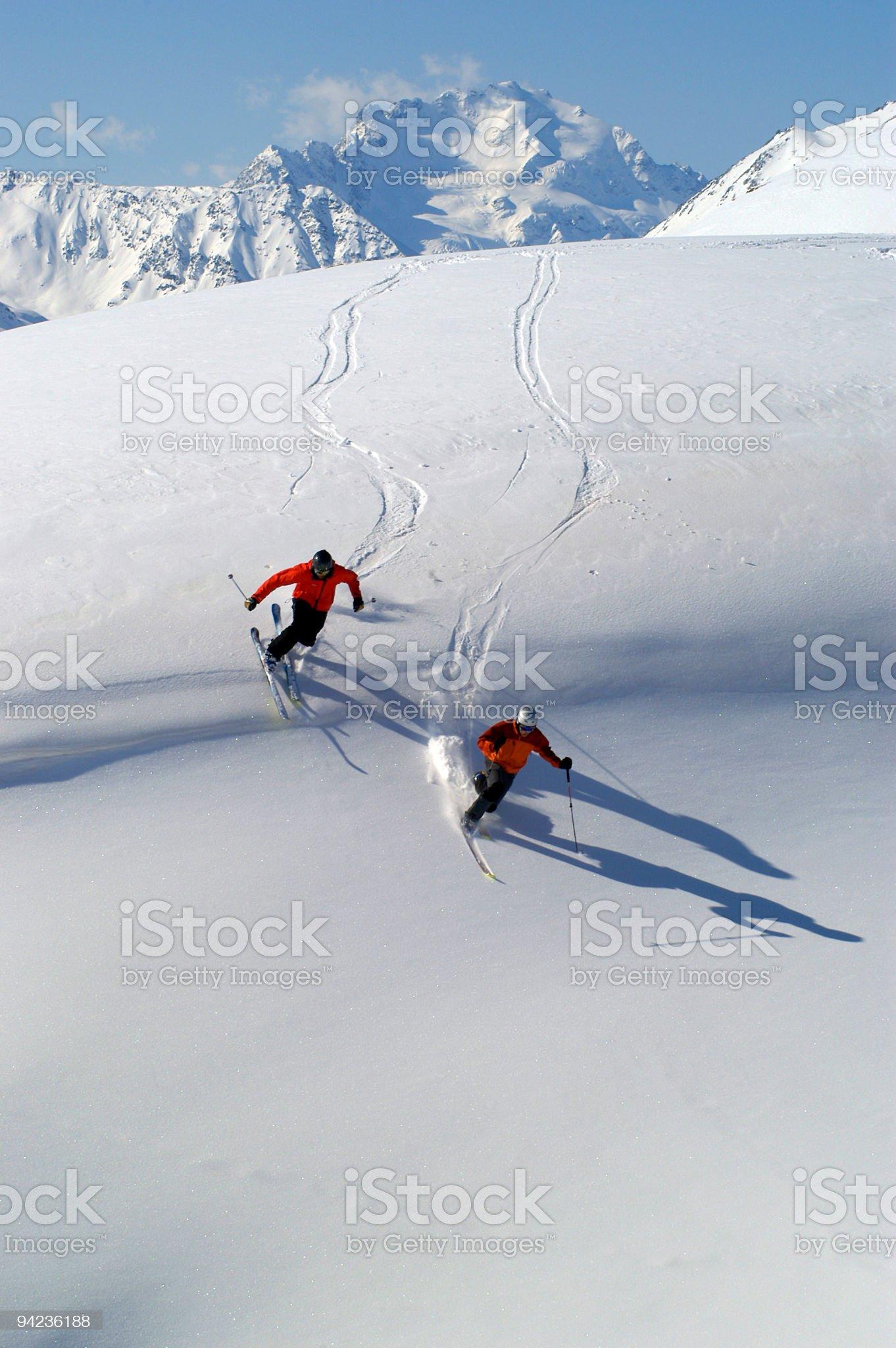 Sciatori in Fuoripista royalty-free stock photo