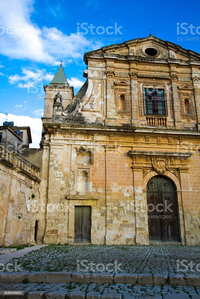 Scicli, Sicily: Baroque Sunlit Chiesa della Conzolazione stock photo