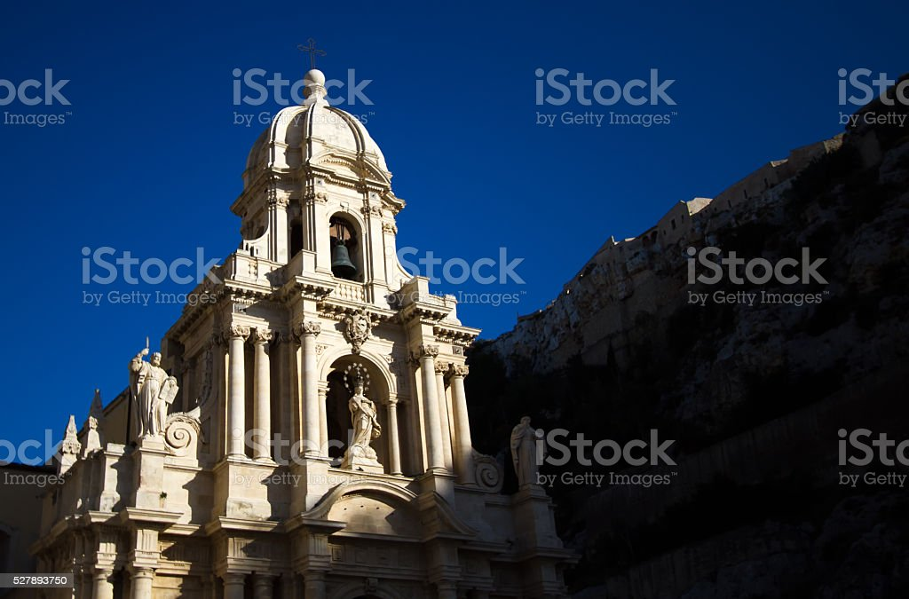Scicli, Sicily: Church of San Bartolomeo in Dramatic Light stock photo