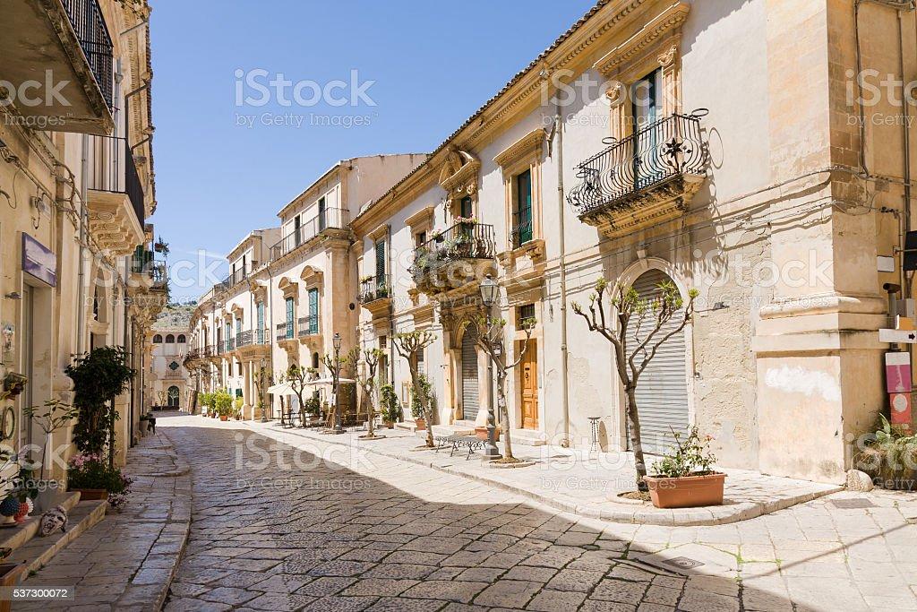 Scicli street, Sicily stock photo