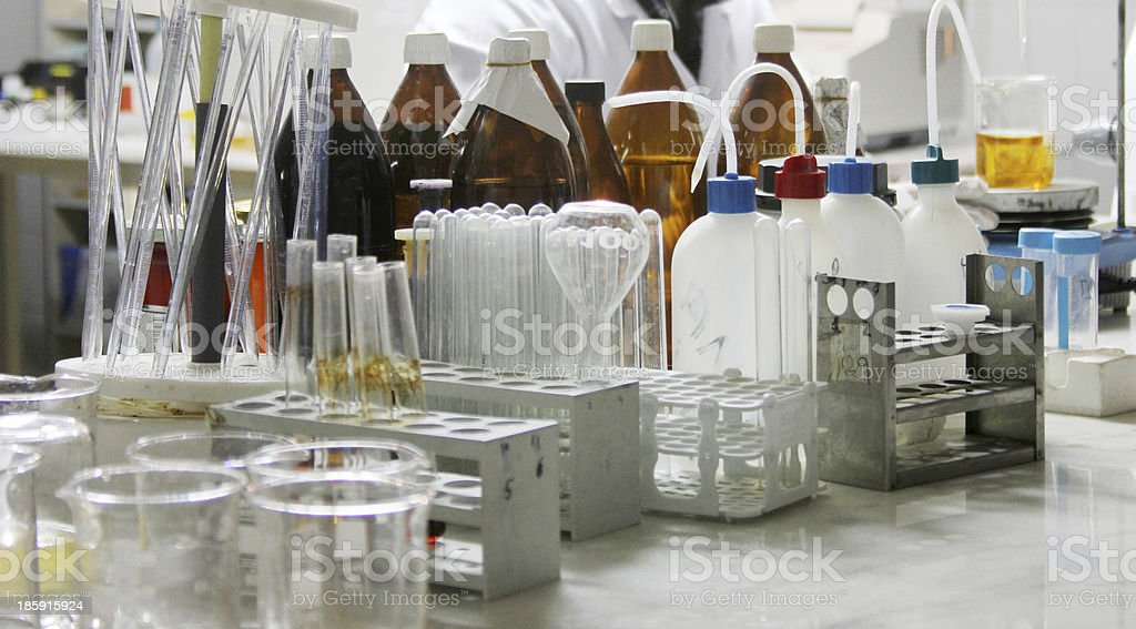 Science and laboratory equipment on a desk royalty-free stock photo
