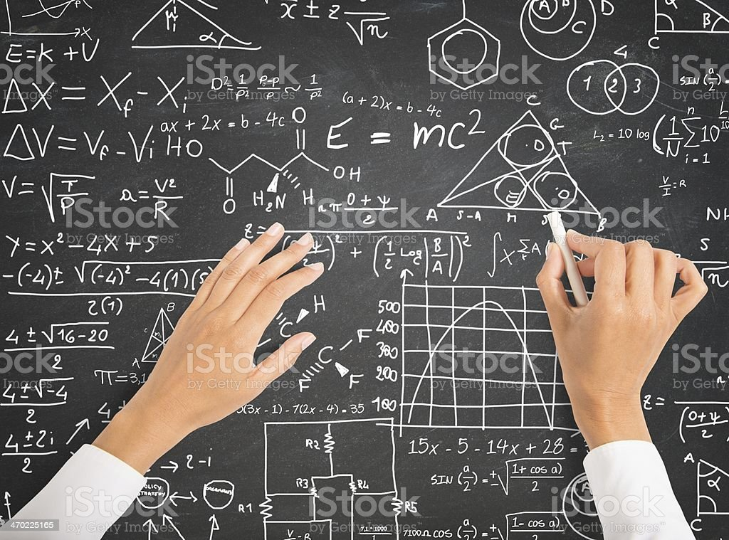 Science and math formulas on chalkboard stock photo