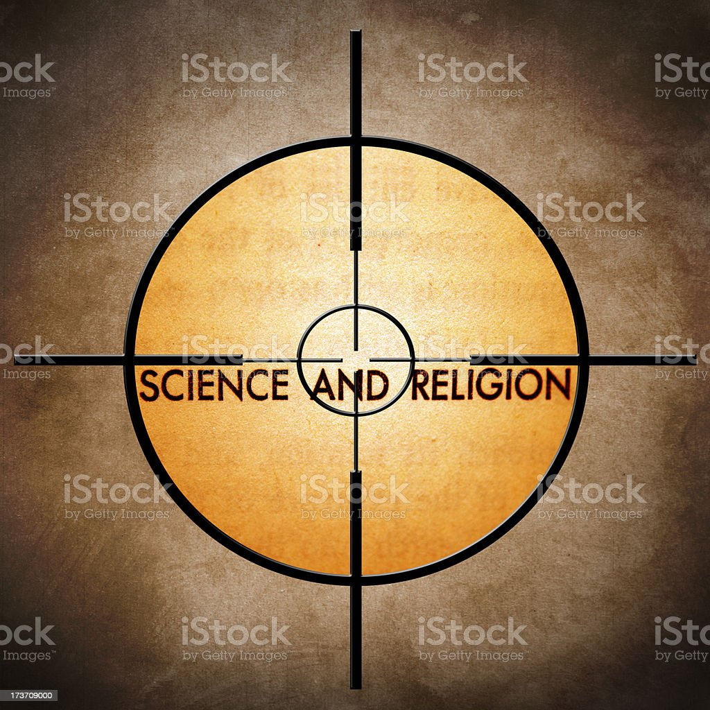 Science and religion target royalty-free stock photo