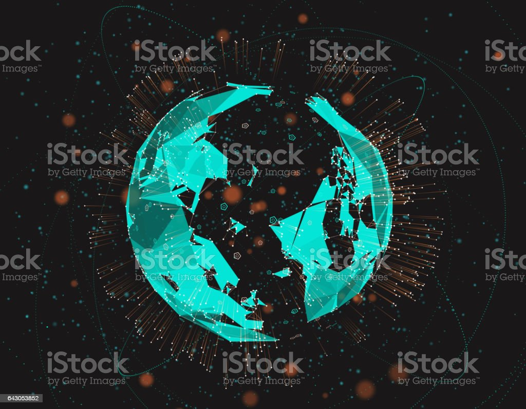 Science and Technology Earth, the future of digital earth technology stock photo
