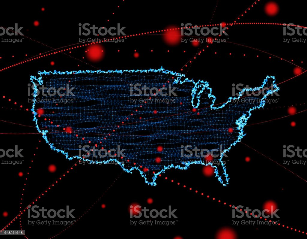 Science and technology, three-dimensional space inside the national map stock photo