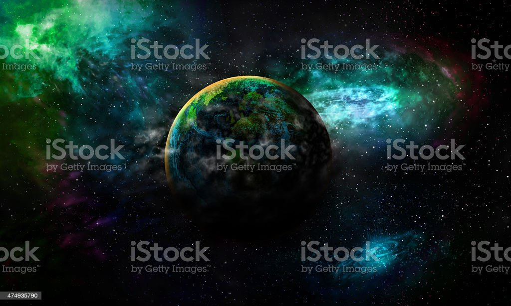 Science background astrological planet Earth is covered by gas b stock photo