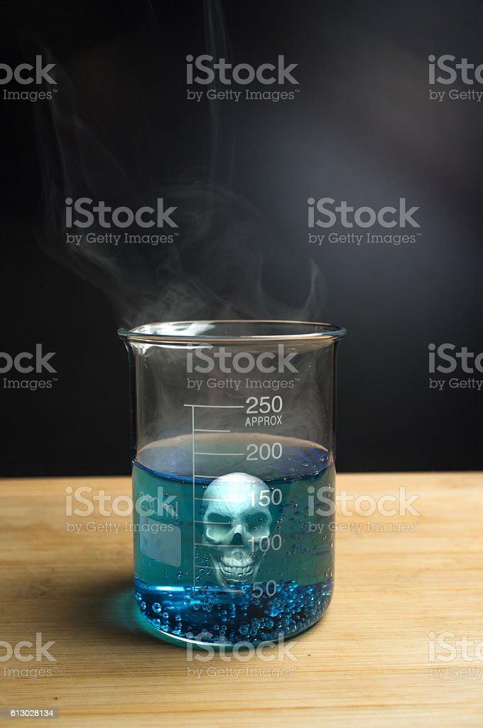 Science Beaker Skull stock photo