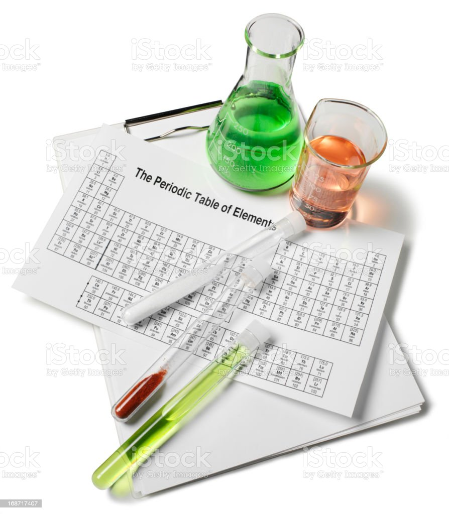 Science Beakers and Periodic Table royalty-free stock photo