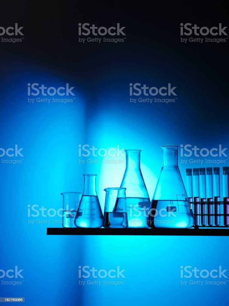 Science Beakers and Test Tubes for Research stock photo