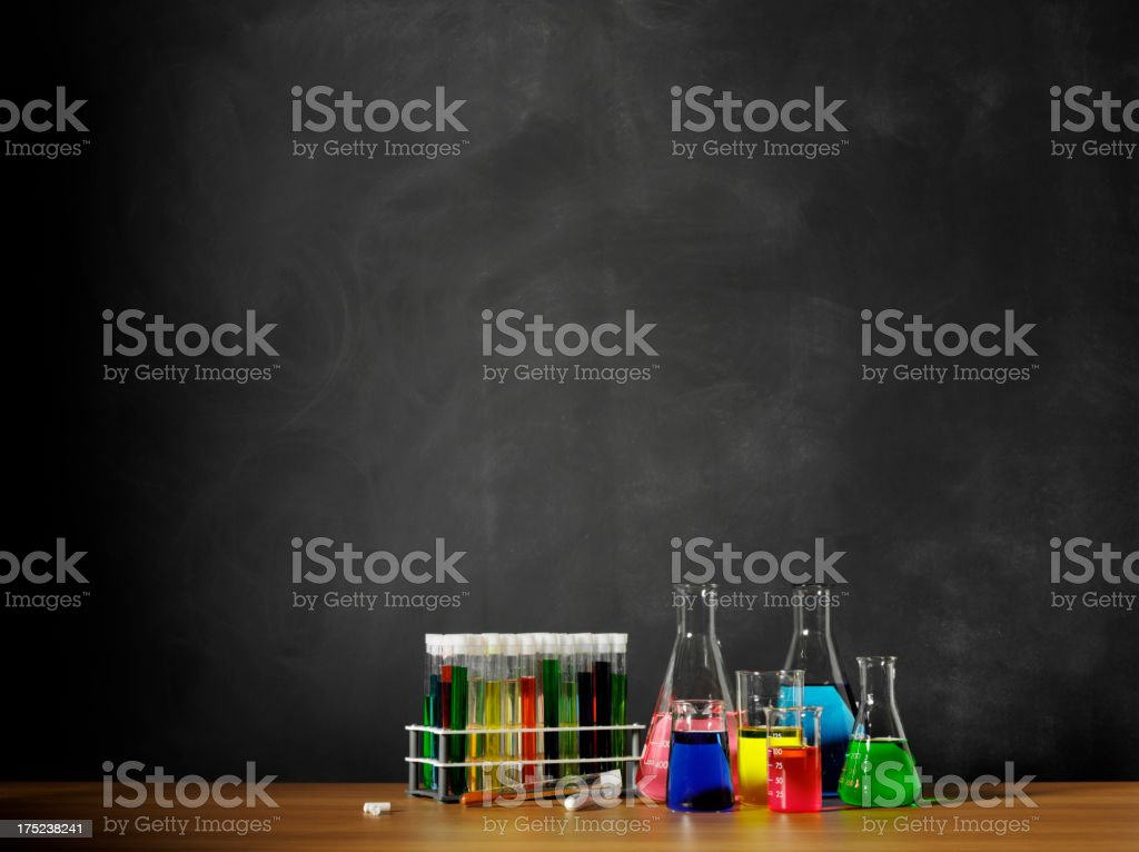 Science Beakers and Test Tubes in the Classroom stock photo