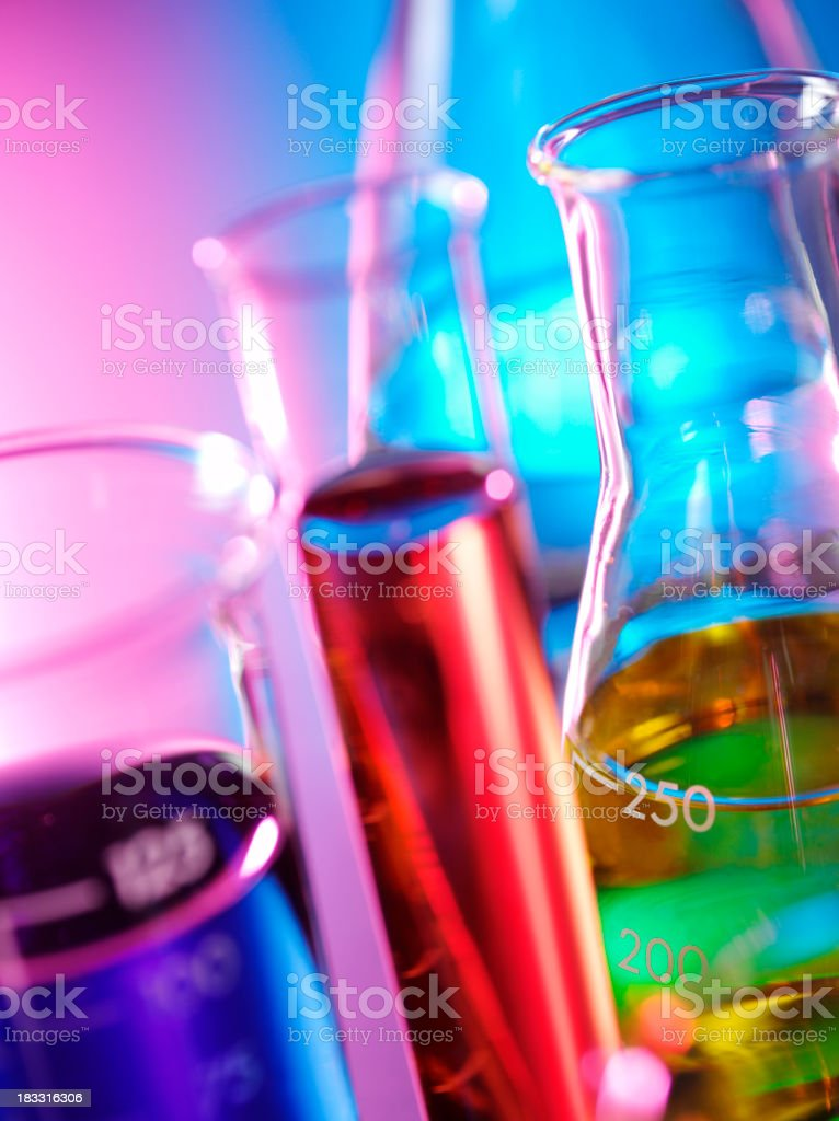 Science Beakers for Research royalty-free stock photo