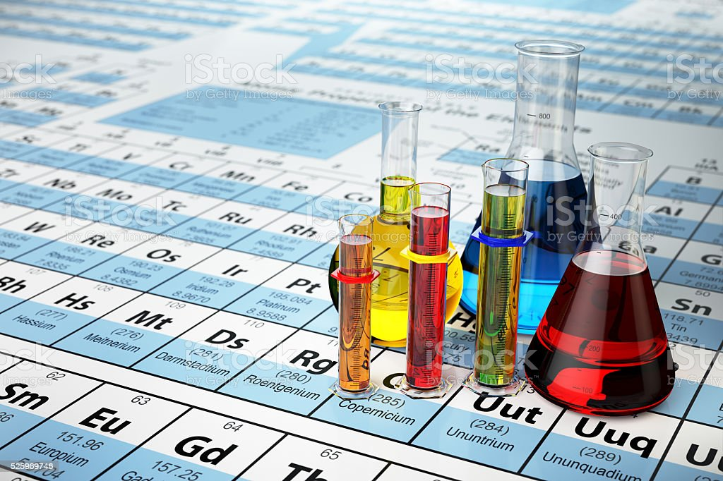 Science chemistry concept. Laboratory test tubes and flasks with stock photo