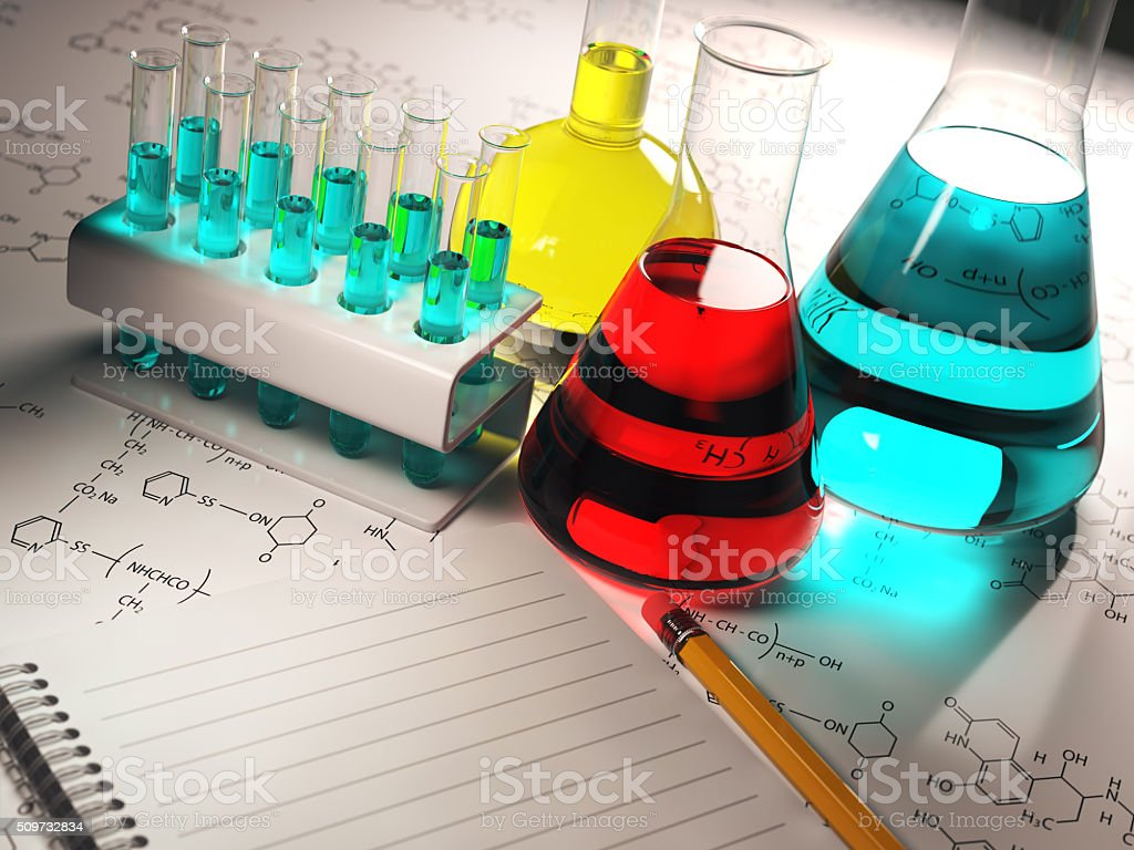 Science chemistry concept.Laboratory test tubes and flasks with stock photo