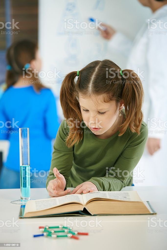 Science class at elementary school royalty-free stock photo