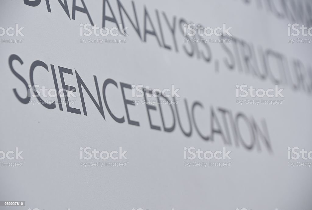 science education sign stock photo
