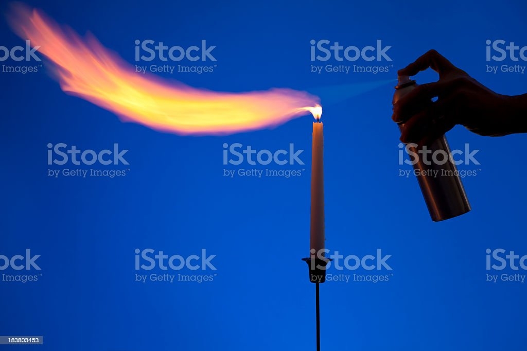 Science Experiment; Hairspray on Fire stock photo
