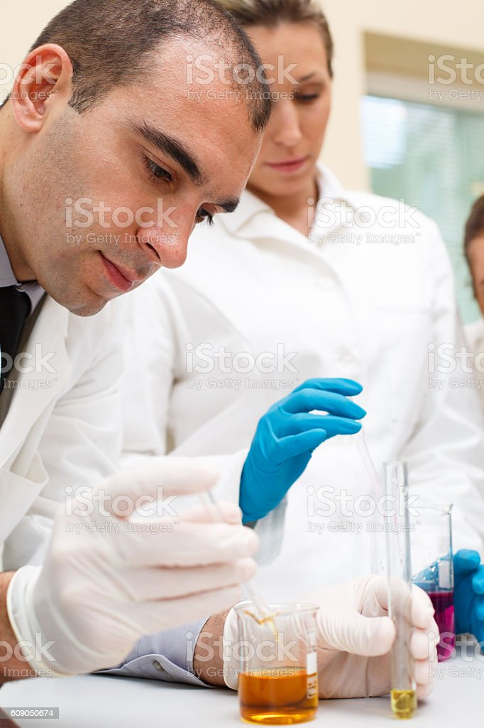 Science experiments in laboratory stock photo