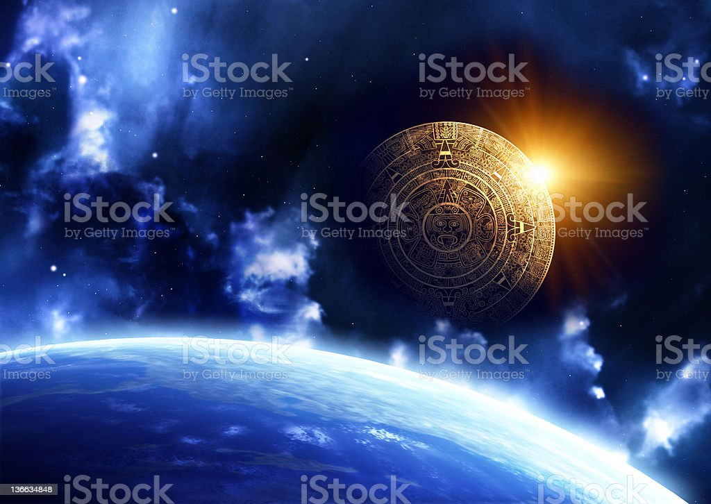 Science fiction image of space ship rising over earth stock photo