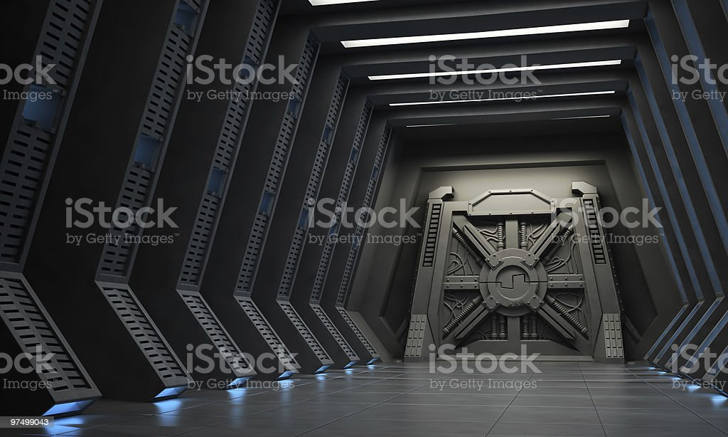 Science fiction interior - a hallway with reinforced gate. stock photo