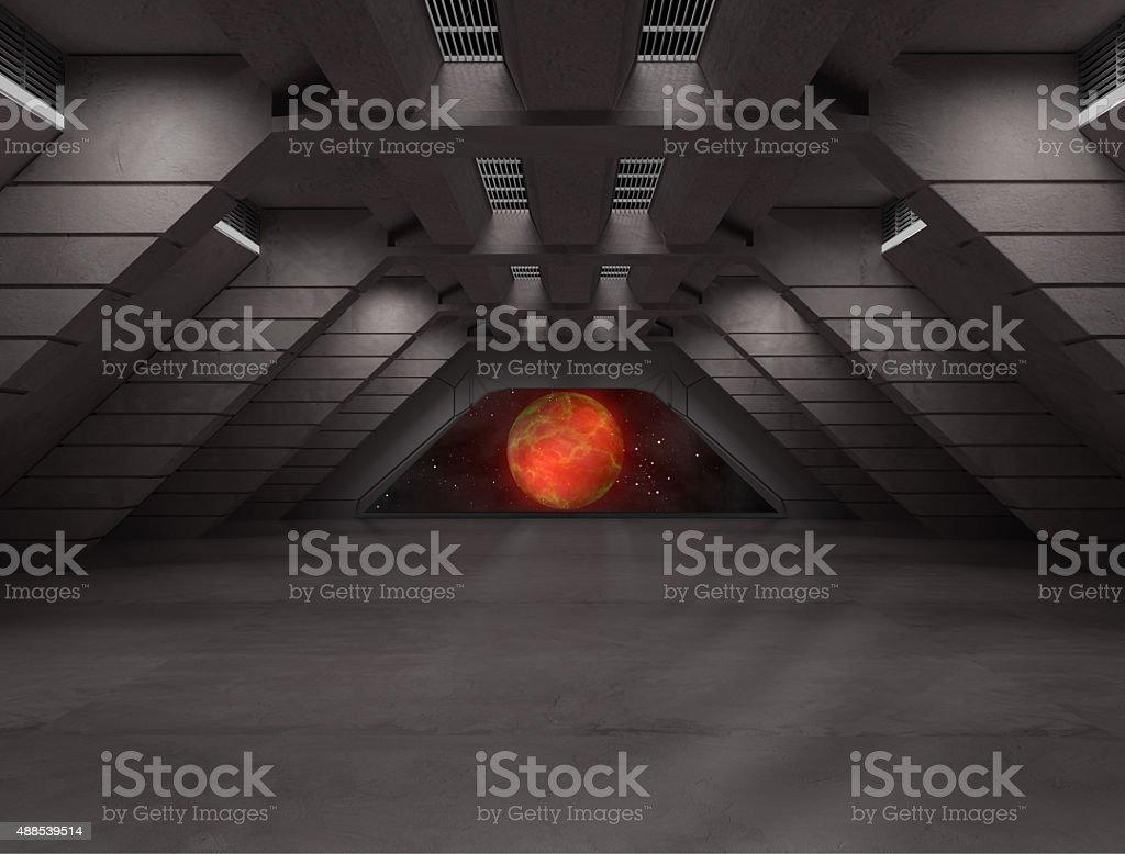 Science fiction interior scene stock photo