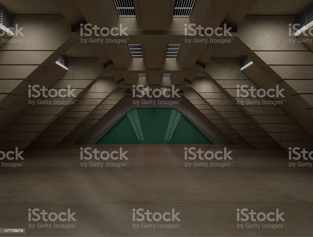 Science fiction interior scene - sci fi  corridor stock photo
