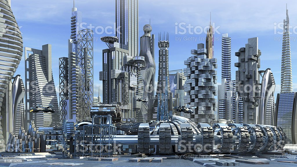 Science fiction skyline architecture stock photo