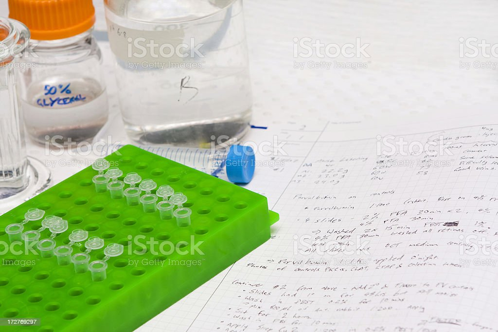 Science lab with bottle and eppendorf tubes stock photo