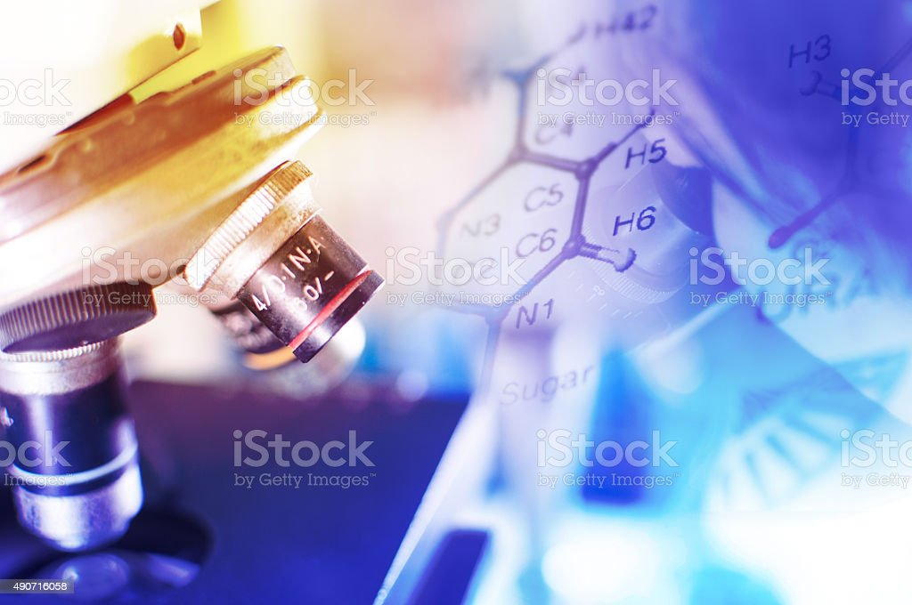 science lab with chemical theme stock photo